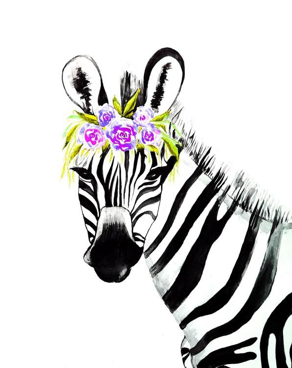 Zebra with roses - Image 0