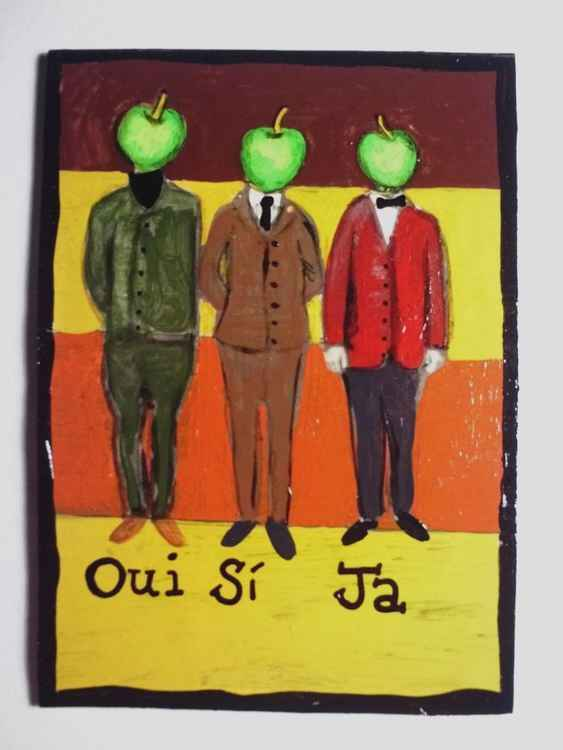 Oui Si Ja Say YES in all languages! original ACEO painting outsider art -