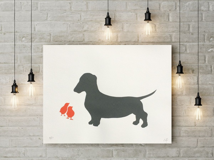 DACHSHUND AND CHICKS-unframed- FREE WORLDWIDE DELIVERY - Image 0