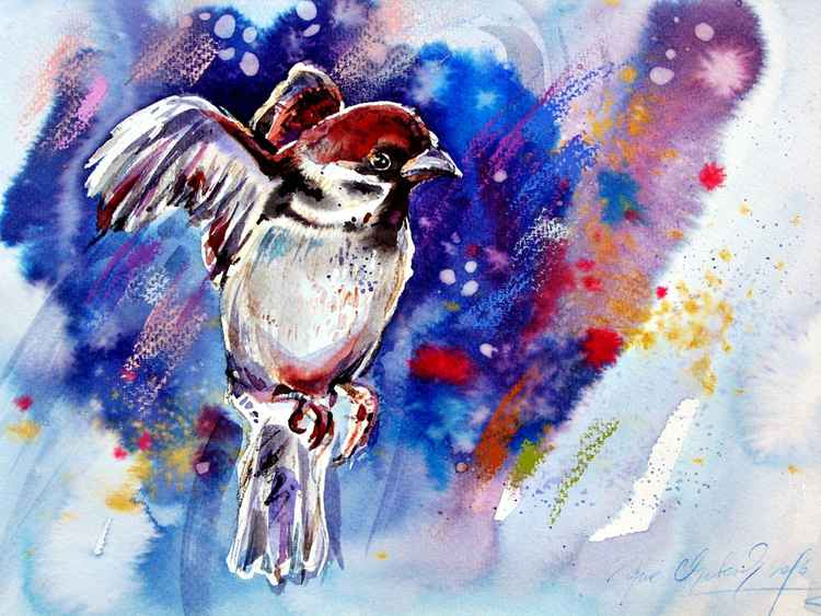 expressive sparrow watercolour original sketch