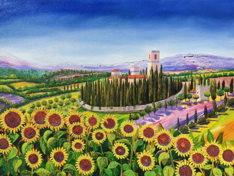 Tuscany sunflowers landscape - Image 0