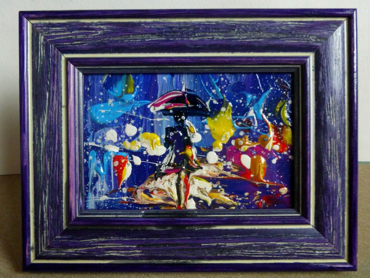 Night walk in the rain, a mini art, 15x10 cm - Image 0