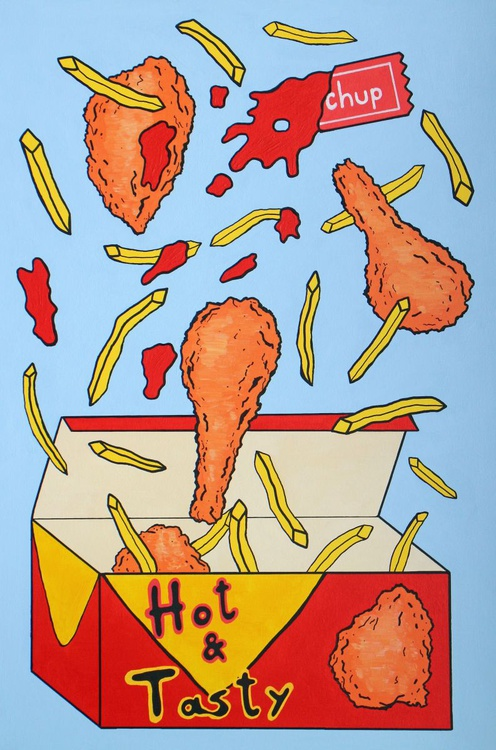 Chicken And Chips Pop Art Painting - Image 0