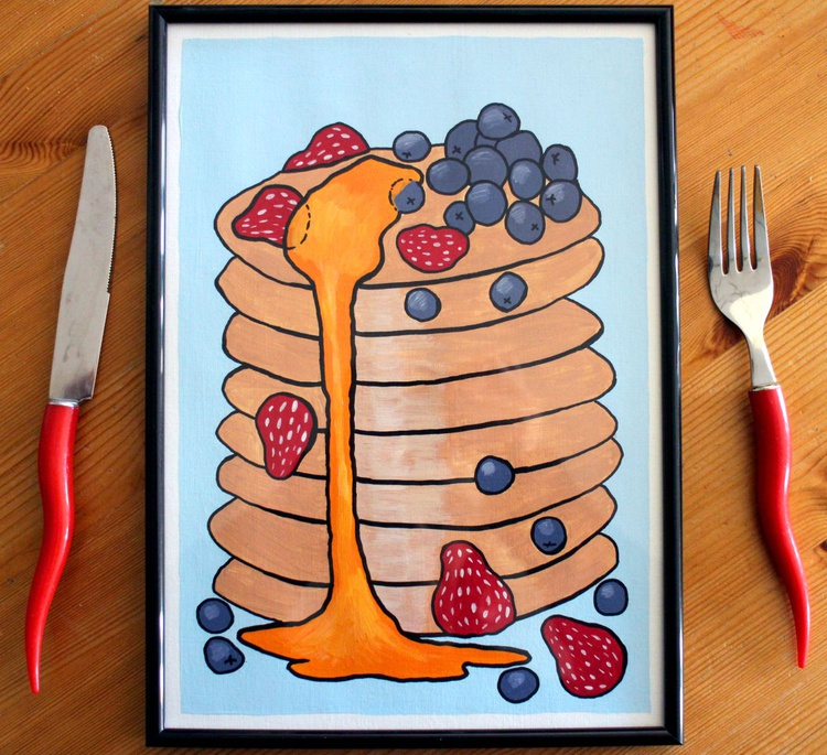 Pancake Tower Pop Art Painting On A4 Paper - Image 0