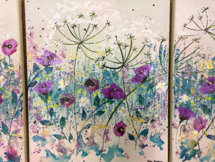 Cow parsley and poppy triptych - Image 0