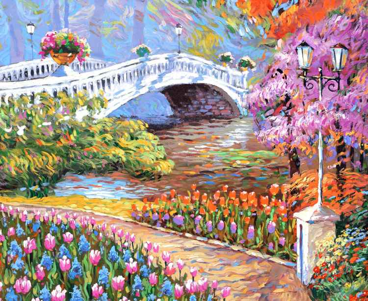 Park oil Painting with palette knife by Dmitry Spiros. Size 28 x 36 in, 70 x 90 cm, 2015 -