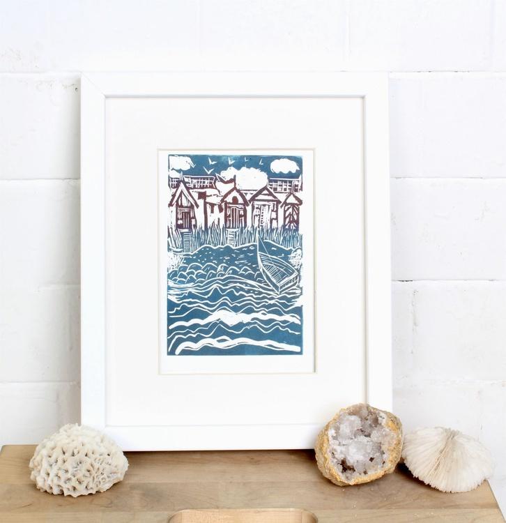 Beach Huts-framed-ready to hang Linocut - Image 0
