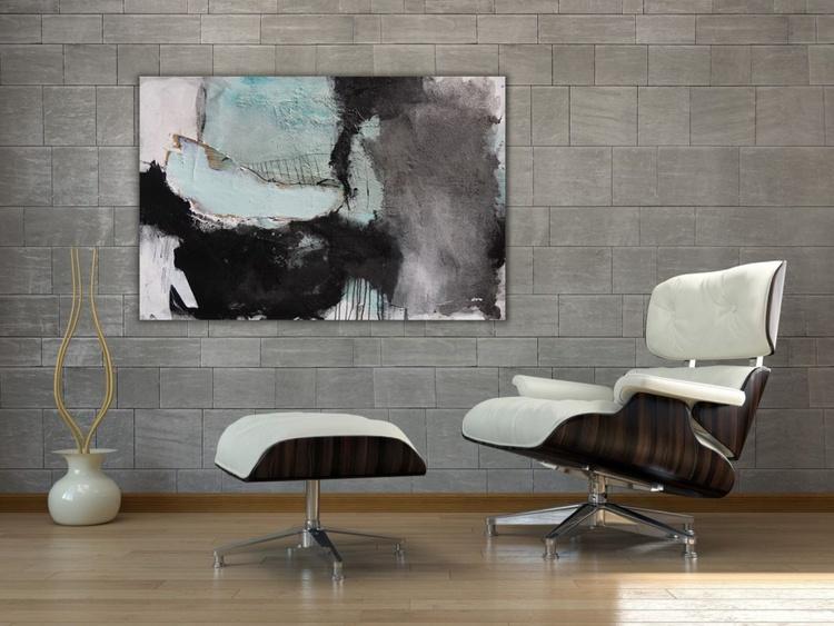 """Vernagt II""   turqoise black white grey   80x120cm   large abstract - Image 0"