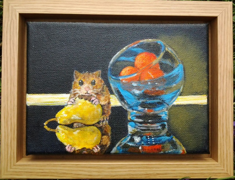 """""""REFLECTIVE HAMSTER"""", acrylic 7x5inch canvas floating in 8x6inch frame - Image 0"""