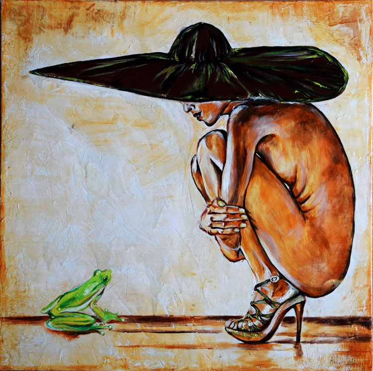 The nude  and the frog/ 60 cm x 60 cm - Image 0