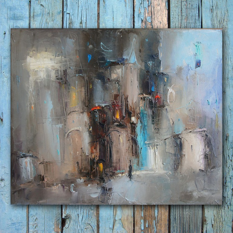 Night city, Oil Painting, free shipping - Image 0