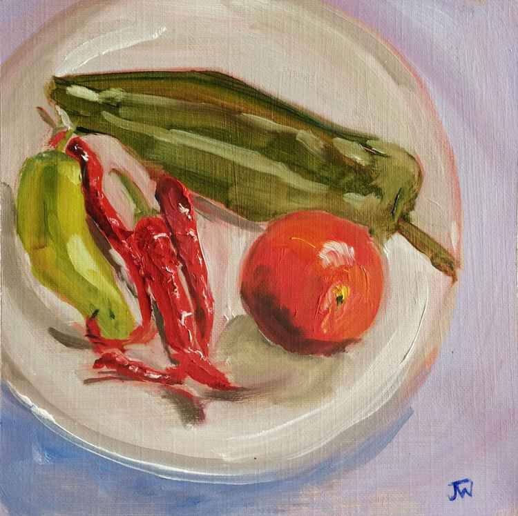 Plate with Peppers and Tomato - Study
