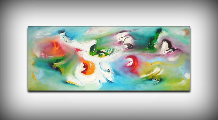 Nostalgic - 100x40 cm, Original abstract painting, oil on canvas, - Image 0