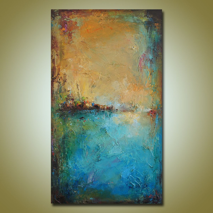 Horizons-2, Abstract landscape painting, free shipping - Image 0
