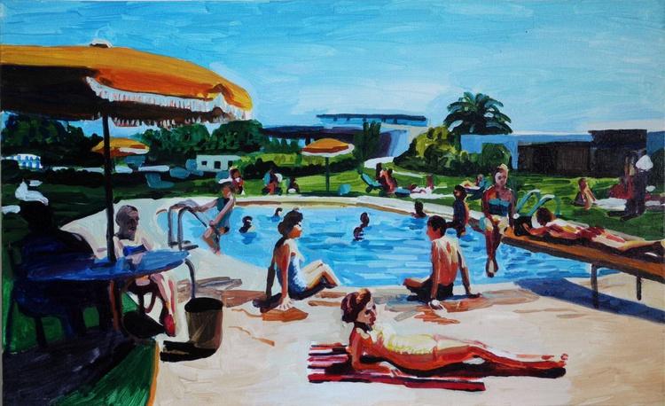 pool scene with yellow umbrella - Image 0