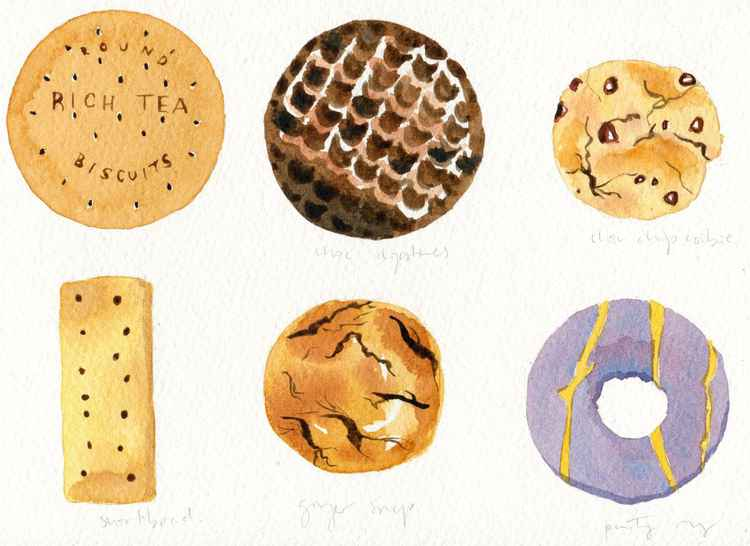 ORIGINAL Watercolour Painting of British Biscuits