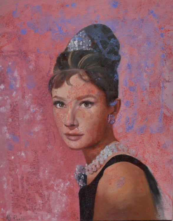 """""""Audrey"""" original handmade oil painting abstract portrait by Paola Ali' 40 x 50 oil on canvas - Image 0"""