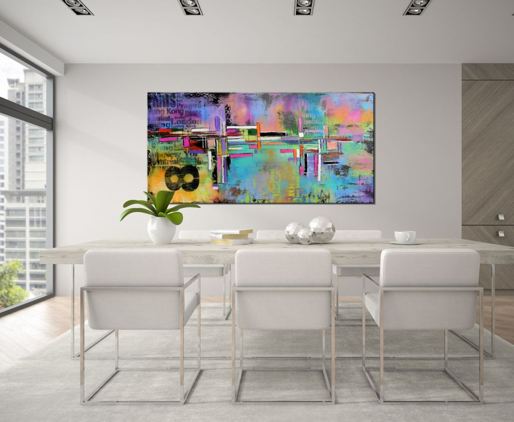 District 84 - Abstract expressionist painting, 48x24 urban abstract contemporary painting blue orange yellow pink - Image 0