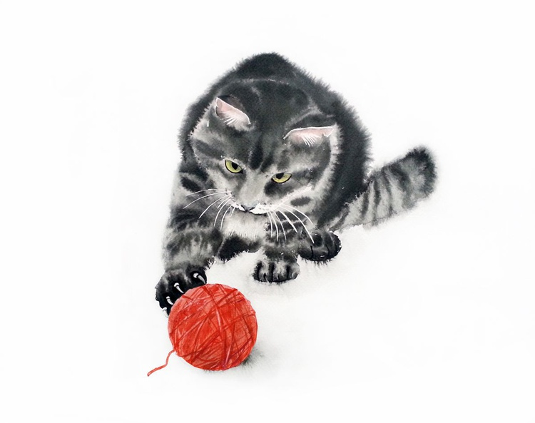 Cat playing with a ball of wool - Image 0