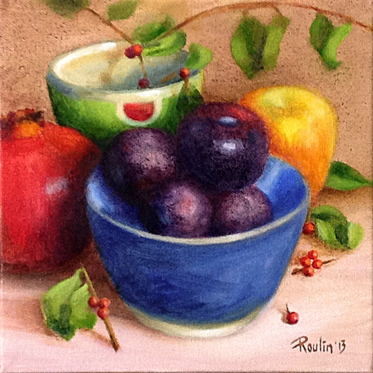Plums In A Blue Bowl - Image 0