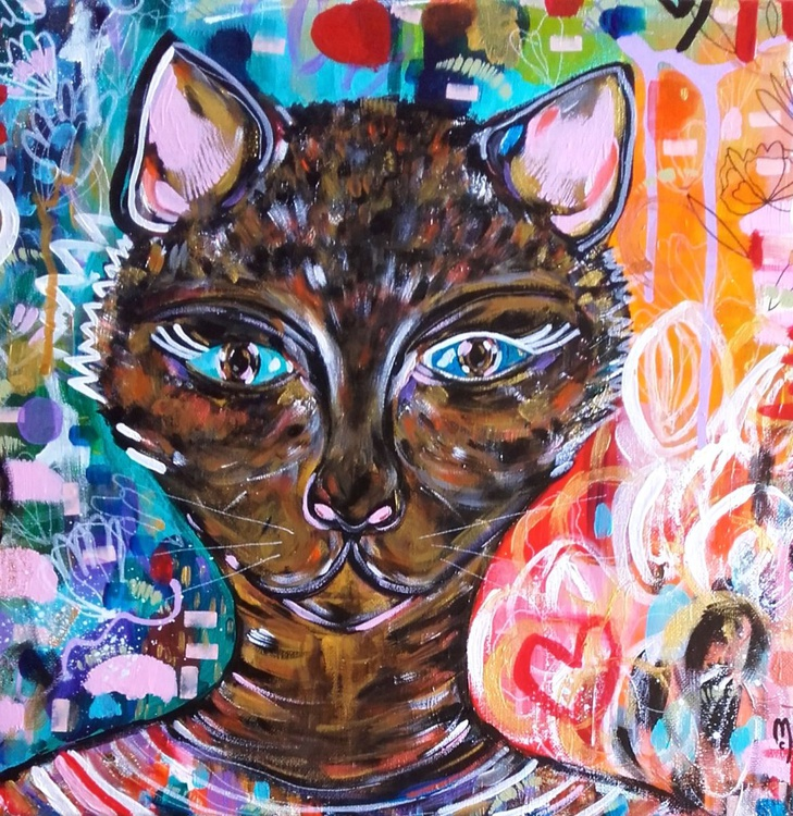 Cat Portrait Animal Portrait Chat Peinture Animal Art Cat Fine Art - Chat Art - Image 0