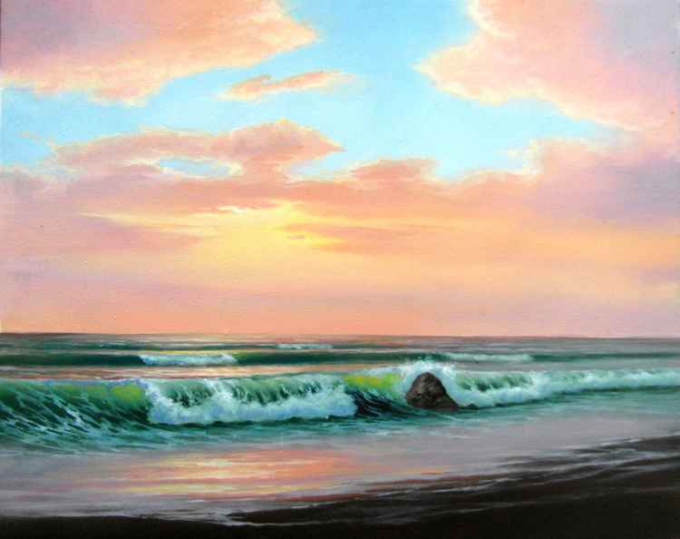 Sunset/Oil on canvas/50X40cm/Free Shipping -