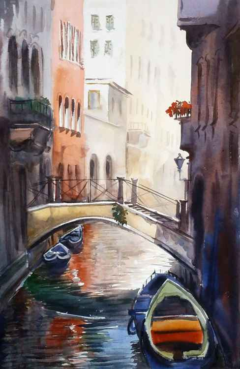 Venice Canals at Morning - Watercolor Painting -
