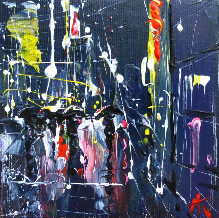 Night rain, mini art 13x13 cm - Image 0