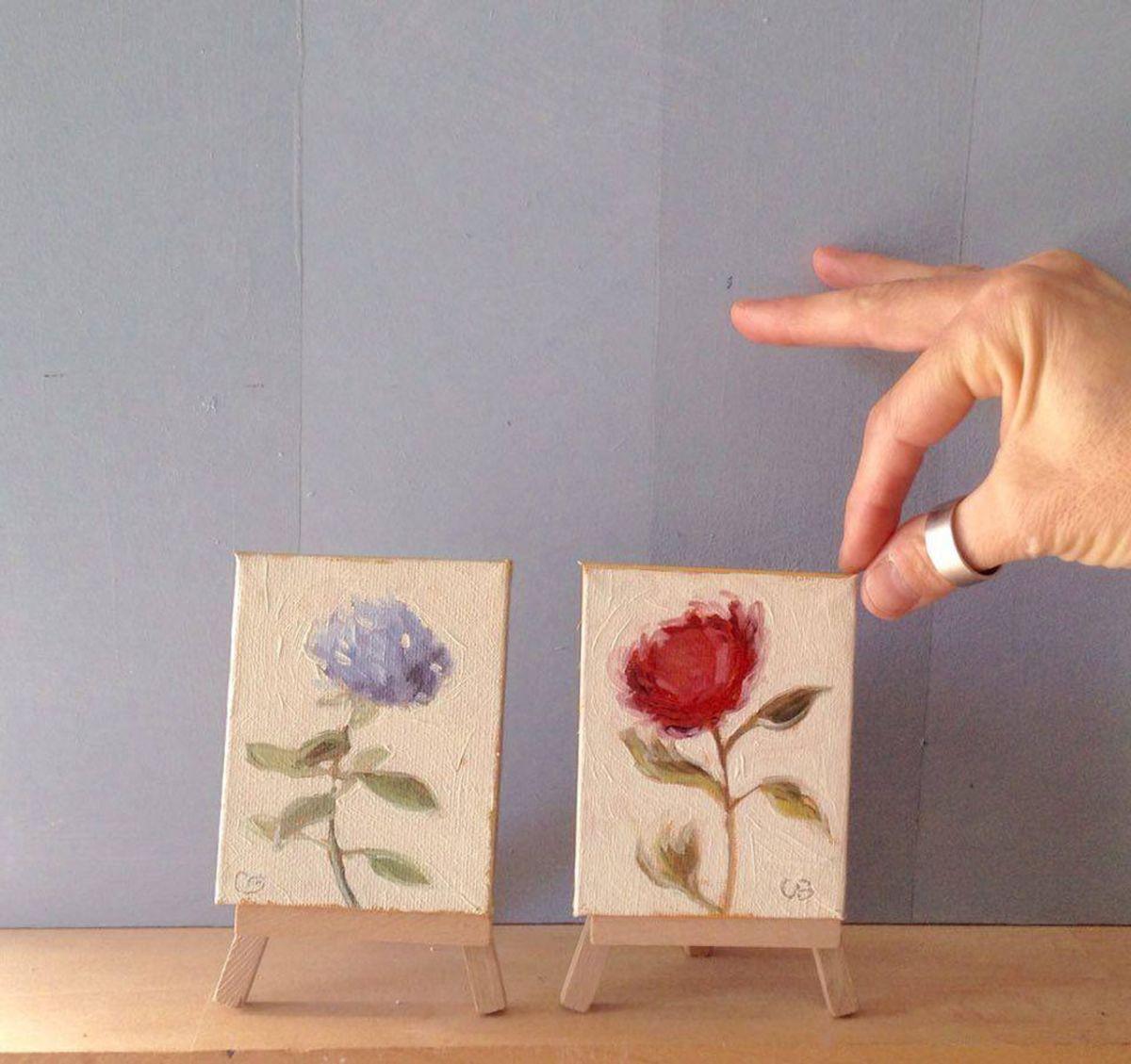 Set of 2 mini botanical flower oil paintings 2016 oil for Art 1129 cc