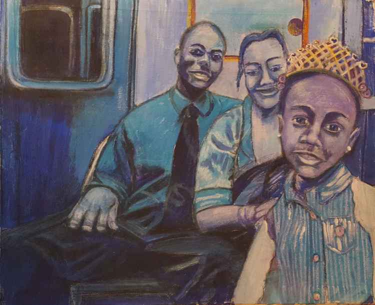 Turquoise Subway Family (On the C-Train in New York City) -