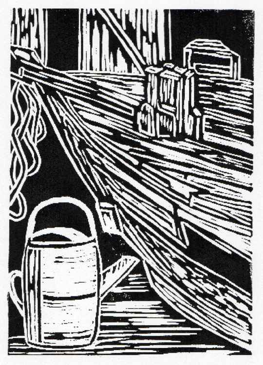 Boat and watering can linocut