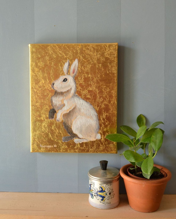 The Little White Rabbit Oil Painting on Lacquered Golden Leaf - Image 0
