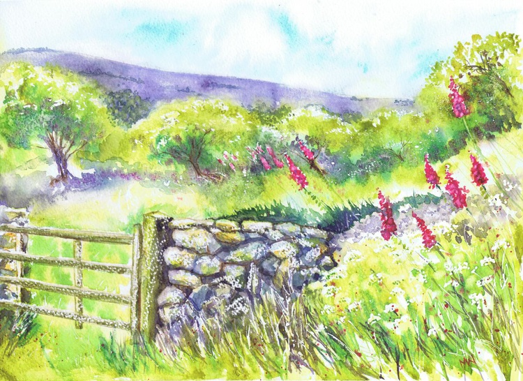 Wild Foxgloves by the Stone Wall - Image 0