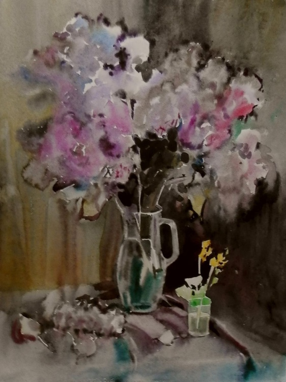 lilac, original watercolor painting 60x80 cm - Image 0