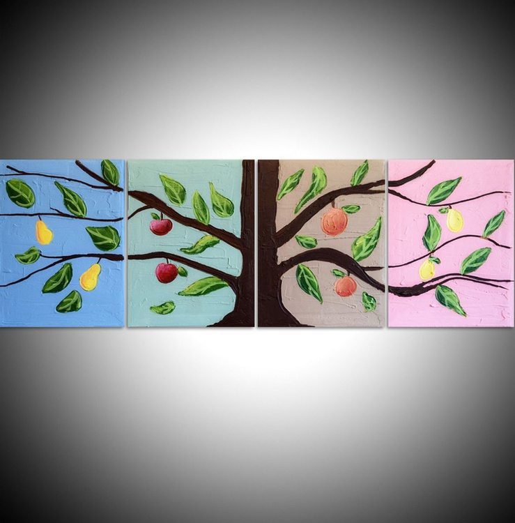 """abstract painting triptych original landscape painting tree painting canvas triptych wall art """"The Fruit Tree"""" pop abstraction contemporary art tree of life blossom polyptych"""" 36 x 12 inches - Image 0"""