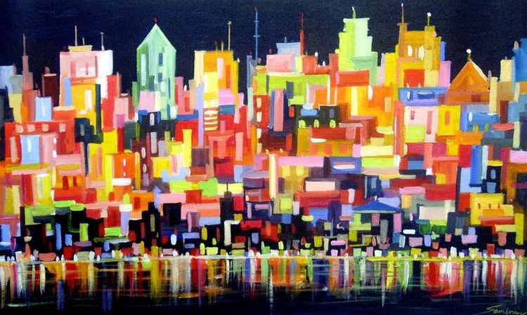 City Night-Abstract Pinting.
