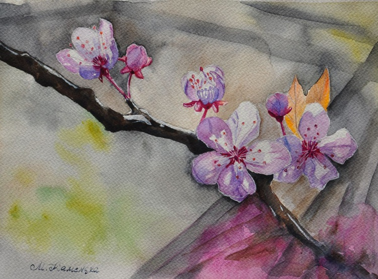 Watercolor painting - Blooming tree branch - Image 0
