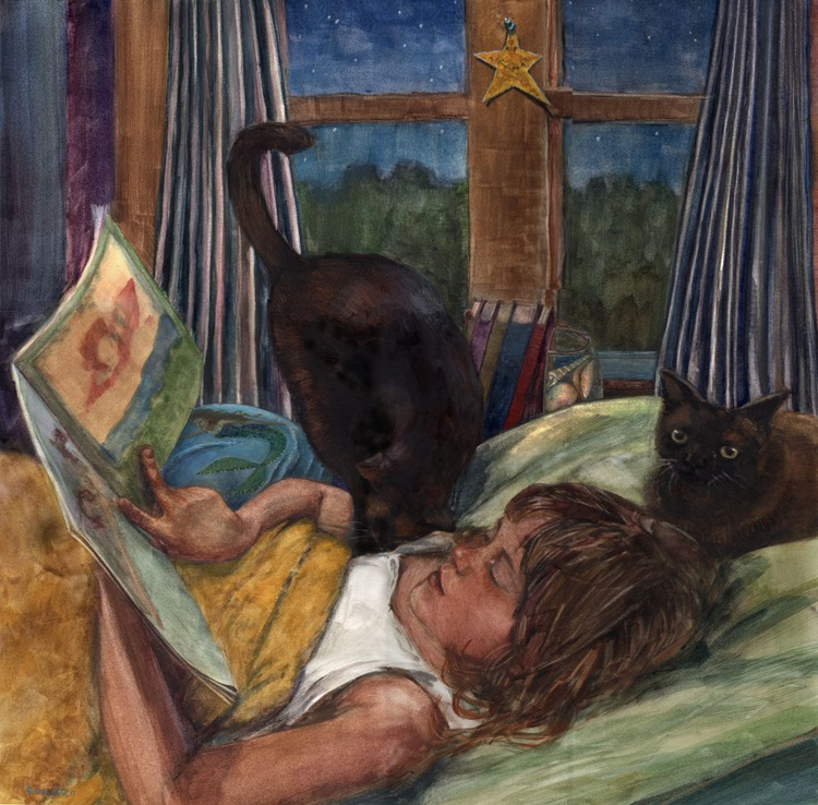Mermaid Storytime (Framed watercolor of a girl reading with cats) - Image 0