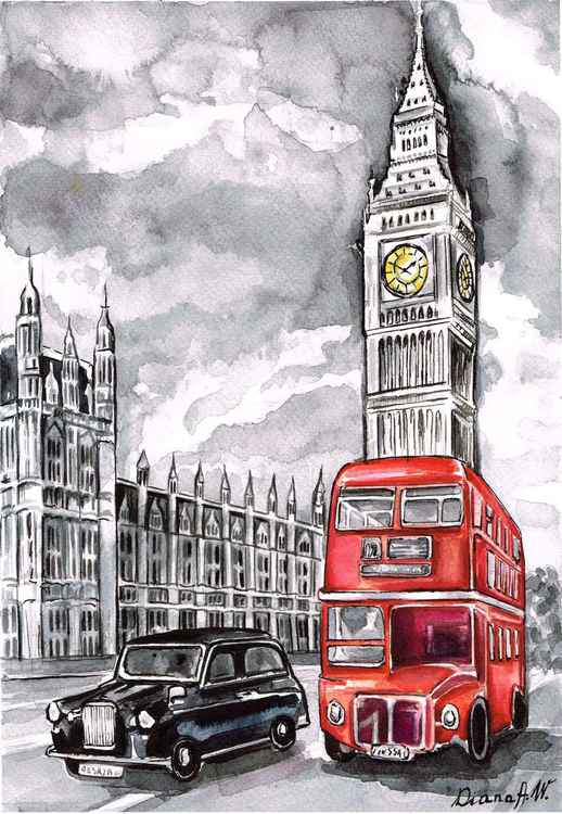 London, Westminster, Big Ben, Red bus, black taxi cab. Original Watercolour Painting, home interior, home decor, Gift Idea