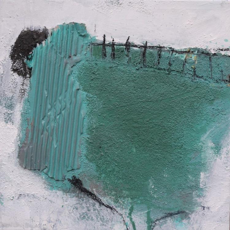 Back to Vernagt   abstract   turquoise white black   Vernagt barrier lake   Work No. 2013.17 - Image 0