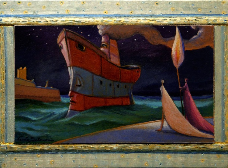 THE ARRIVAL OF THE SHIP OF DREAMS - ( framed ) - Image 0