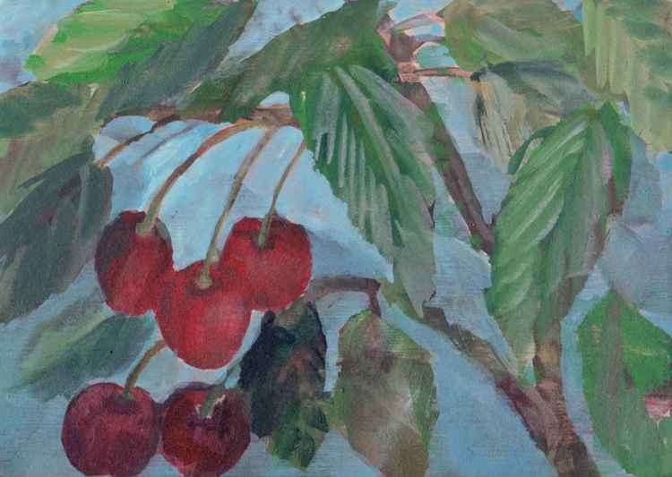 Cherries - From Cycle Fruits, 2013, acrylic on wood, 11,7 x 16,4 cm -