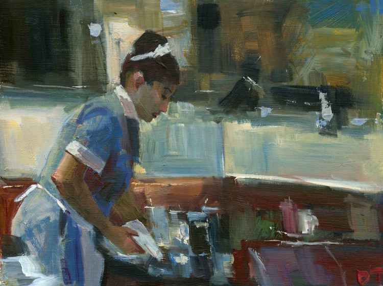 Waitress Clearing Tables -