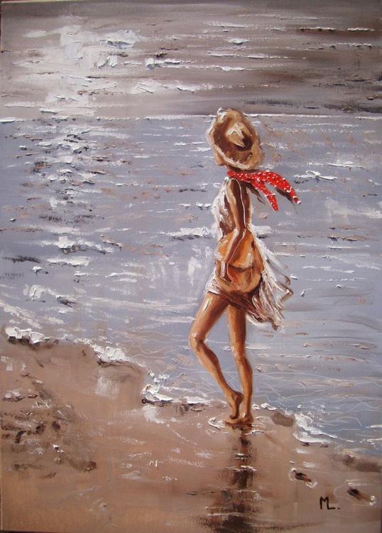 """ ONE DAY ... "" SEA original painting palette knife GIFT MODERN URBAN ART OFFICE ART DECOR HOME DECOR GIFT IDEA - Image 0"