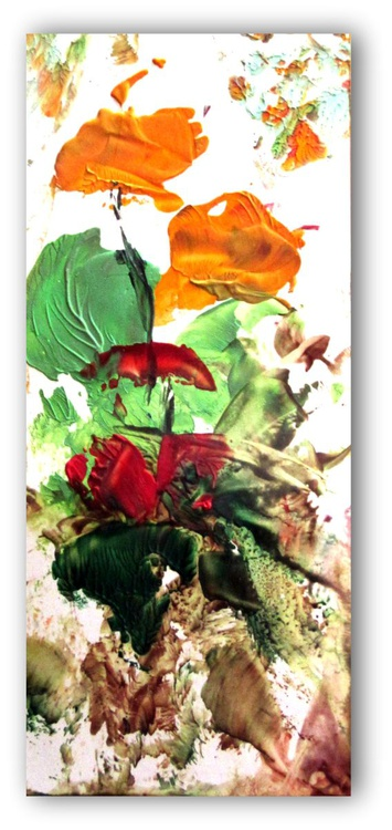 """""""Poppy Love II"""" - small encaustic Poppy Painting painted with beeswax medium on card stock - Image 0"""