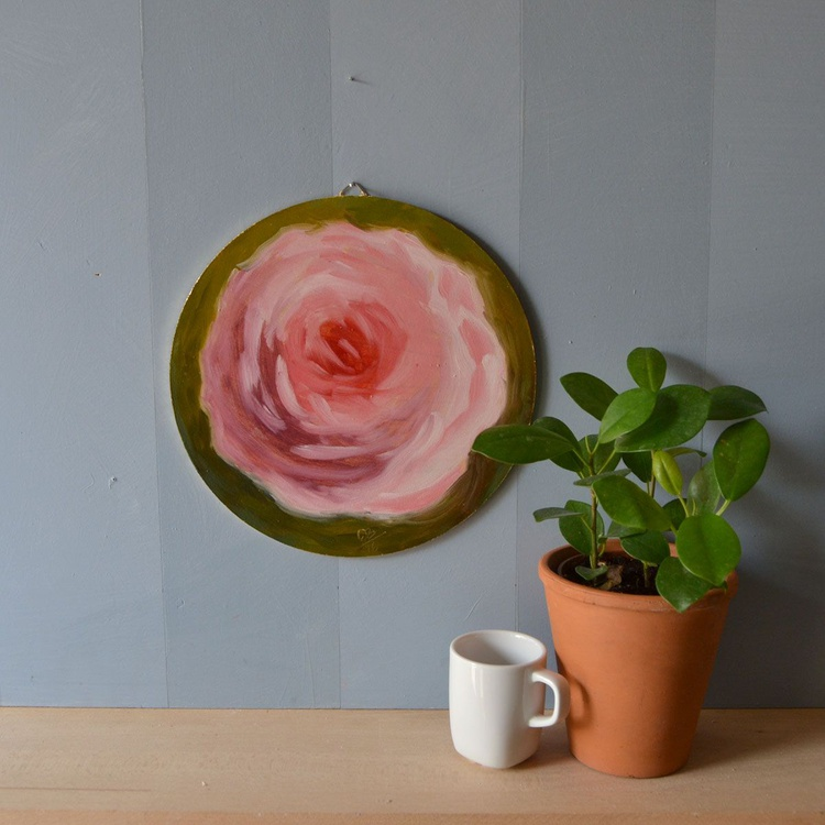 Round Pink Rose Flower Oil Painting on Canvas Board - Image 0