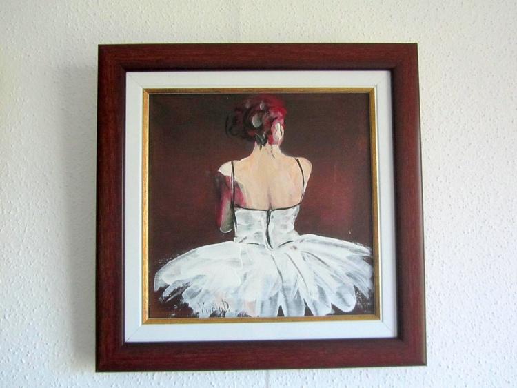Ballerina in white tutu (framed) - Image 0