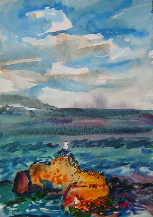 BREATH OF THE SEA II, WATERCOLOR PAINTING 45X32 CM -
