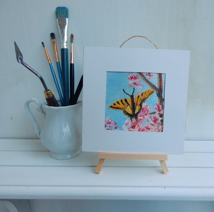 Butterfly on the tree. Miniature. Easel is included. Gift painting. Ready to hang. - Image 0