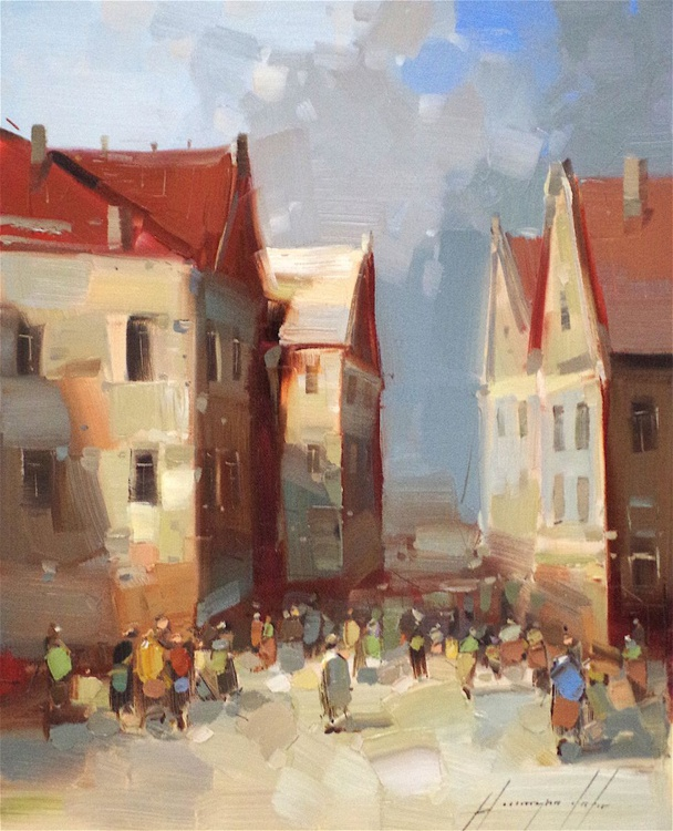 Cityscape, Figures on the Street, Original oil painting  Handmade artwork One of a kind, Signed - Image 0